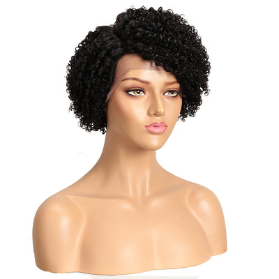 LACE ERIN | Human Hair Short Afro Curly Wigs|Lace Front Side Part Wig|9 inch Pixie Cut Natural Black Wigs - Noblehair
