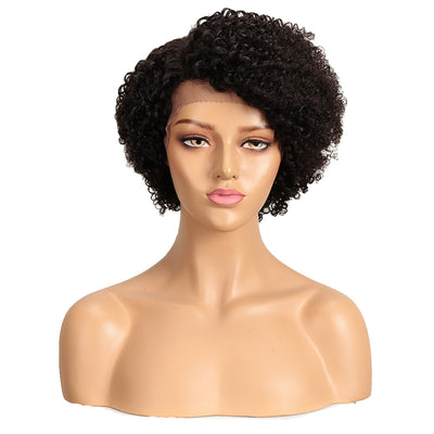 LACE ERIN Human Hair Short Afro Curly Wigs|Lace Front Side Part Wig|9 inch Pixie Cut Natural Wigs - Noblehair