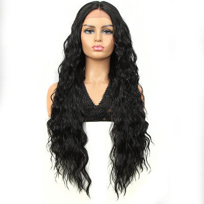 Synthetic Long Curly Lace Front Wigs for Women|32 inch Deep Wave Wig| Natural Black |SOTO by NOBLE - Noblehair