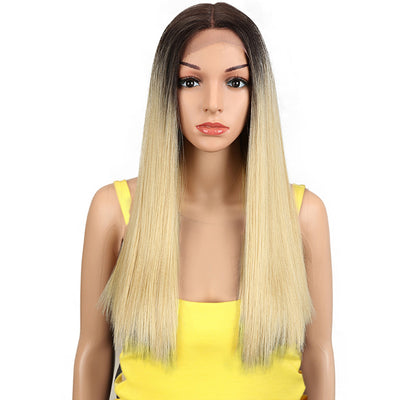 Synthetic Lace Front Wig | 19.5 Inch Blunt Cut Straight  | Ombre Blonde |  Janelle by Noble - Noblehair