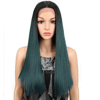 Synthetic Lace Front Wig | 19.5 Inch Blunt Cut Straight T | Ombre Green|  Janelle by Noble - Noblehair