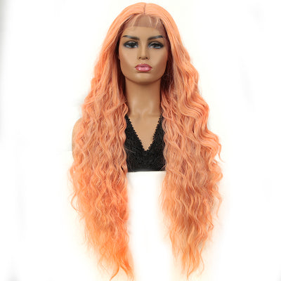 Synthetic Long Curly Lace Front Wigs for Women|32 inch Deep Wave Wig| Orange| SOTO by NOBLE - Noblehair