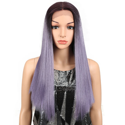 NOBLE Synthetic Lace Front Wig | 19.5 Inch Blunt Cut Straight  | Ombre Purple |  Janelle - Noblehair