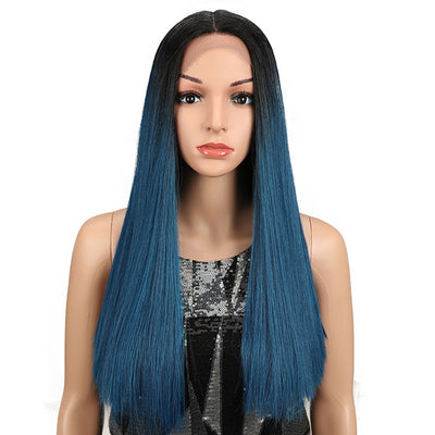 Synthetic Lace Front Wig | 19.5 Inch Blunt Cut Straight  | Ombre Blue |  Janelle by Noble - Noblehair