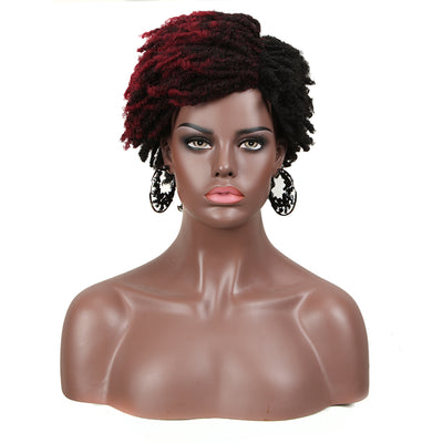 Synthetic Afro Wigs For Black Women | 9.5 Inch Short Dreadlocks | Mixed Red| RJO by Noble - Noblehair