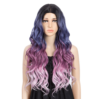 NEON|Synthetic Lace Front Wigs for Women|27 inch Long Wavy Wig|5 inch Middle Part Pre plucked Ombre Blue Purple Wig by NOBLE - Noblehair