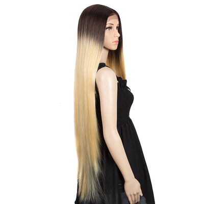Synthetic Lace Front Wigs | 38 inch Long Straight Lace Wig |Ombre Blonde Wig - Noblehair