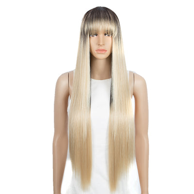 NOBLE Synthetic Non Lace Wig | 32 Inch long straight Wigs with Bangs | Ombre Blonde Color Wig JOYO - Noblehair
