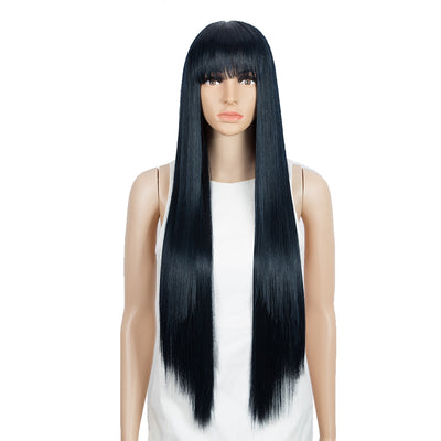 Synthetic Non Lace Wig | 32 Inch long straight Wigs with Bangs | Bule Black Color Wig JOYO by NOBLE - Noblehair