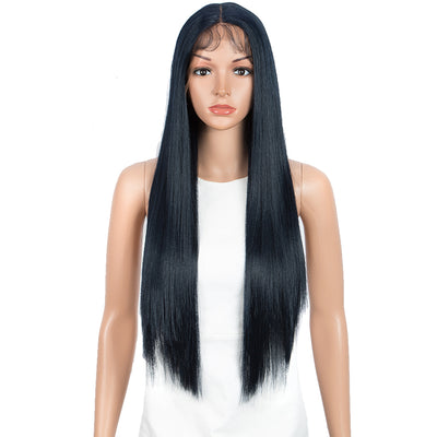 NOBLE Synthetic 4.5 Inch Middle Part Lace Front Wigs丨28 Inch long straight Blue Black Wig| Allure - Noblehair