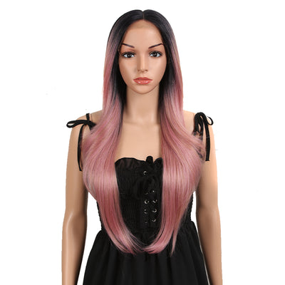 NOBLE Easy 360 Synthetic Lace Front Wig | 28 Inch Long Straight | Rose Pink | Agatha - Noblehair