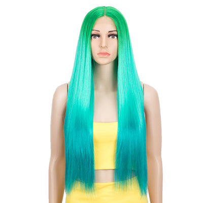 Synthetic Lace front Middle Part Wig | 30 Inch long straight Wig | Ombre Green Color Wig HEADLINE by NOBLE - Noblehair