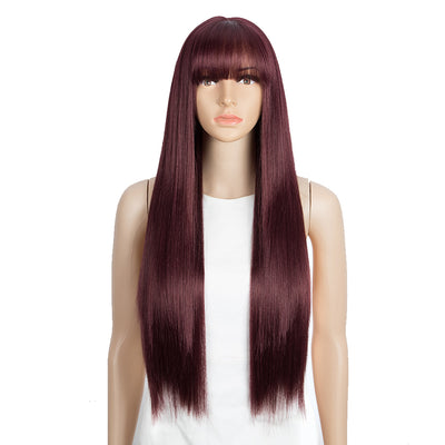 Synthetic Long Straight Lace front Wig with Bangs | 28 Inch Synthetic HD Lace wigs | Wine Red | Brittany by Noble - Noblehair