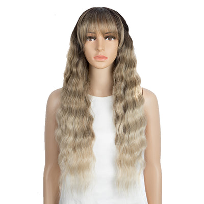 Synthetic Long Wavy Lace front Wig with Bangs | 28 Inch Synthetic HD Lace wigs | Brown Blonde | Angelica by Noble - Noblehair