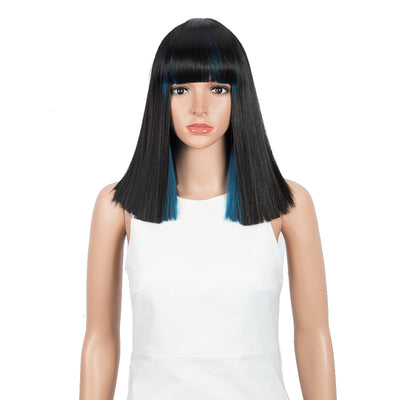 Synthetic Behind Ear Dyed Hair Wig | 13 Inch Blunt Cut Bob Wigs with Bangs | dyed Blue behind ear Avril by NOBLE - Noblehair