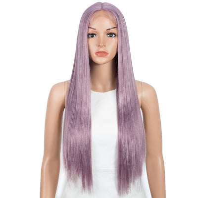 NOBLE Synthetic 4.5 Inch Middle Part Lace Front Wigs丨28 Inch long straight Ash Purple Wig| Allure - Noblehair