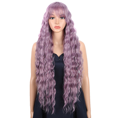 Synthetic Long Wavy Wig with Bangs | 30 Inch Synthetic Curly Loose wigs | Ash Purple | Craib by Noble - Noblehair