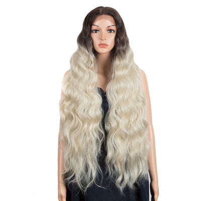 FREYA | Synthetic Lace Front Wigs | 38 inch Long Wavy Wig | Ombre Streamer Blonde Wig by NOBLE - Noblehair
