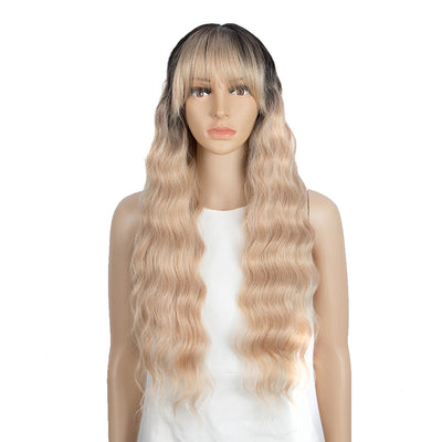 Synthetic Long Wavy Lace front Wig with Bangs | 28 Inch Synthetic HD Lace wigs | Pink Blonde | Angelica by Noble - Noblehair