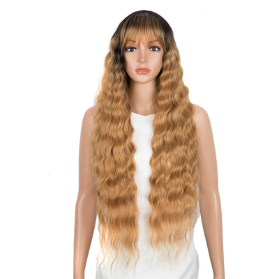 NOBLE Synthetic Long Wavy Wig with Bangs | 30 Inch Synthetic Curly Loose wigs | Brown Blonde | Craib - Noblehair
