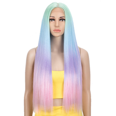 Synthetic Lace front Middle Part Wig | 30 Inch long straight Wig | Green Rainbow Wig HEADLINE by NOBLE - Noblehair