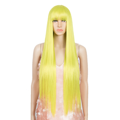 Synthetic Non Lace Wig | 32 Inch long straight Wigs with Bangs | Lemon Color Wig JOYO by NOBLE - Noblehair
