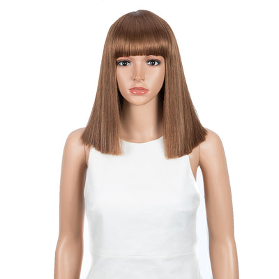 NOBLE Synthetic Behind Ear Dyed Hair Wig | 13 Inch Blunt Cut Bob Wigs with Bangs | Dyed Blonde Color Behind Ear Avril - Noblehair