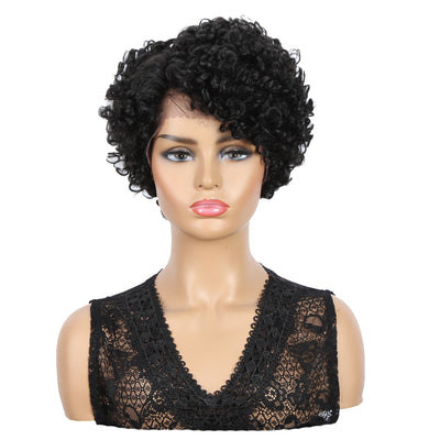 Short Curly Afro Wig Lace Front Wig | 10 Inch Side Lace Part Curly Wigs | Elsa by Noble - Noblehair