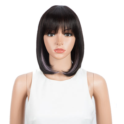 "NOBLE Short Human Hair Bob Wigs with Bangs | 10"" Machine Made Bob Wigs for Black Women 