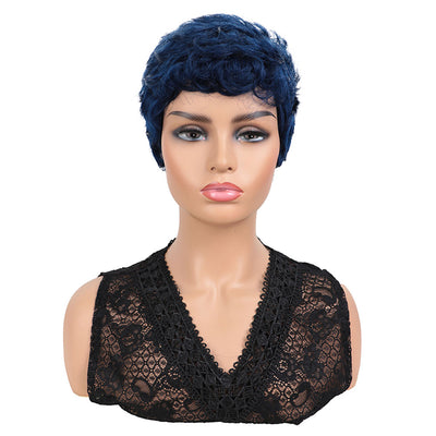 NOBLE Short Human Hair Wigs for Black Women | Pixie Cut Wigs Luvme Hair Curly Wig | Blue Wig - Noblehair