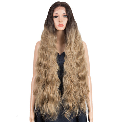FREYA | Synthetic Lace Front Wigs | 38 inch Long Wavy Wig | Ombre Light Brown Wig by NOBLE - Noblehair
