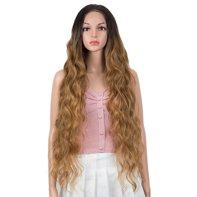 BONI | Easy 360 Synthetic Lace Frontal Wigs | 13*6 Long Wavy Wig | 31 inch Ombre Brown Blonde Wig - Noblehair