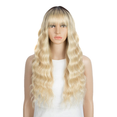 Synthetic Long Wavy Wig with Bangs | 26 Inch Non Lace Loose wigs | Blonde Color | CARLA by Noble - Noblehair