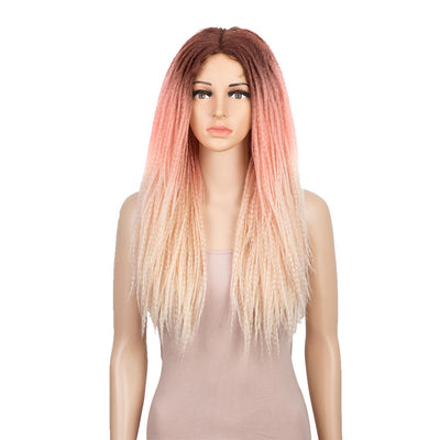 Synthetic Lace Front Wigs | 26 Inch Natural Faux Locs Ombre Pink Wig | Kate by Noble - Noblehair