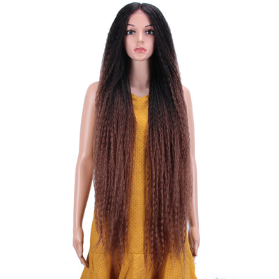 NOBLE Dreadlock Lace Front Wig | 38 inch Super Long Straight Braid Wig | Afro Kinky Curly Ombre Brown Wig for Black Women | Maxin - Noblehair