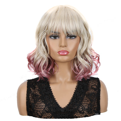 Synthetic Non Lace Wig | Natural Wave 12 inches Short Curly BOB Hair Wigs | Ombre White Purple Wig GEMMA - Noblehair