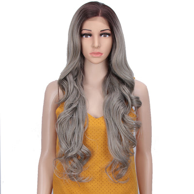 Easy 360 Synthetic HD Lace Frontal Wig | 28 Inch Long  Wavy Streel Color Wig | Queen by Noble - Noblehair