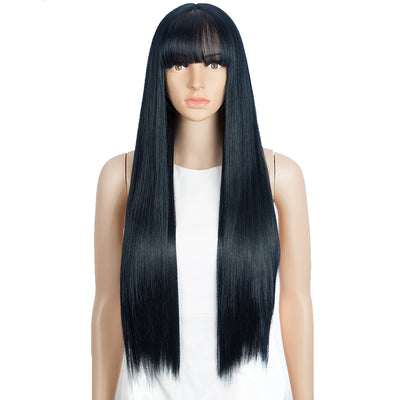 Synthetic Long Straight Lace front Wig with Bangs | 28 Inch Synthetic HD Lace wigs | Blue Black | Brittany by Noble - Noblehair