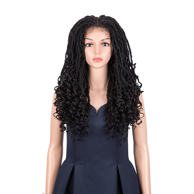 GODDESS |Synthetic 4*4 Lace Frontal Faux Locs Braids Wig | 24 inch Goddess Locs Wig | Natural Black - Noblehair