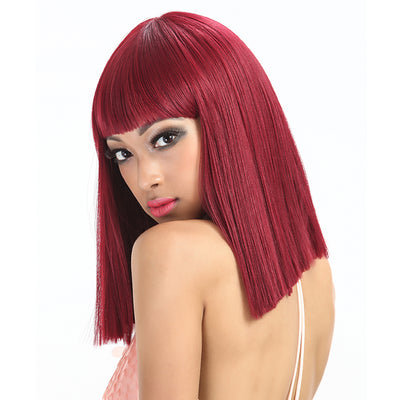 Synthetic Non Lace Wig | 13 Inch Blunt Cut Bob Wigs with Bangs | Wine Red Wig Avril by NOBLE - Noblehair