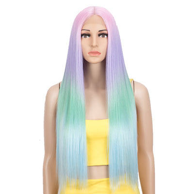 Synthetic Lace front Middle Part Wig | 30 Inch long straight Wig | Purple Rainbow Wig HEADLINE by NOBLE - Noblehair