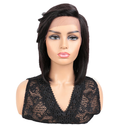 NOBLE Human Hair Wigs with High Side Bangs|HD Lace Front Side Part Wig for Women|CHRIS Black Wigs - Noblehair