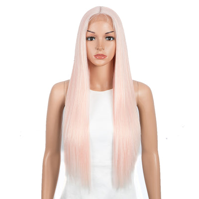 Allure丨Synthetic 4.5 Inch Middle Part Lace Front Wigs丨28 Inch long straight Cream Pink Wig - Noblehair