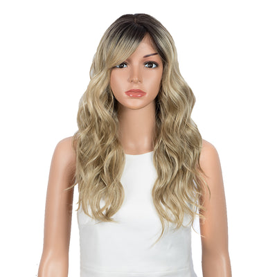 Synthetic Long Wavy Lace front Wig with Bangs | 20 Inch Synthetic HD Lace wigs | Blonde | Chloe by Noble - Noblehair