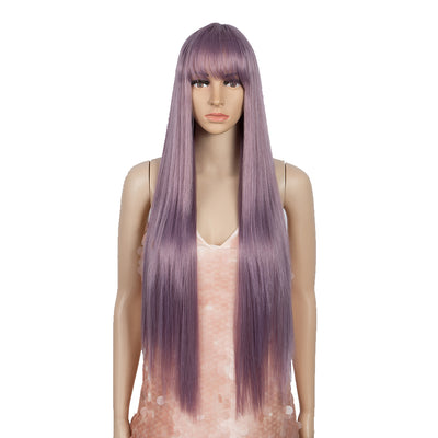 NOBLE Synthetic Non Lace Wig | 32 Inch long straight Wigs with Bangs | Ash Purple Color Wig JOYO - Noblehair