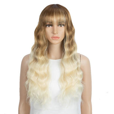 Synthetic Long Wavy Wig with Bangs | 26 Inch Non Lace Loose wigs | Ombre Bright Blonde Color | CARLA by Noble - Noblehair