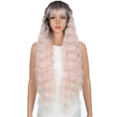 Synthetic Long Wavy Wig with Bangs | 30 Inch Synthetic Curly Loose wigs | Cream Pink Color | Craib by Noble - Noblehair