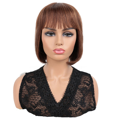 NOBLE Human Hair BOB Wigs with Bangs | Short bob Wigs for Black Women Colored Hair Wigs | ERIN Brown Wig - Noblehair