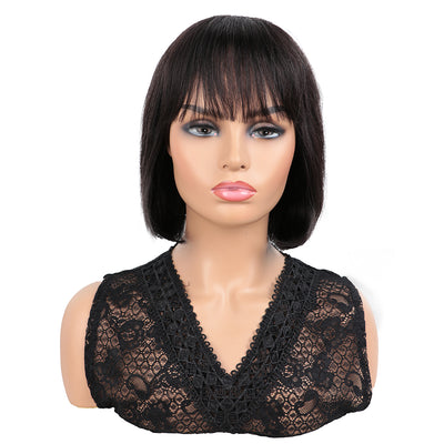 NOBLE Human Hair BOB Wigs with Bangs | Short bob Wigs for Black Women Colored Hair Wigs | ERIN Black Wig - Noblehair