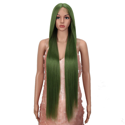 NOBLE Synthetic Lace Front Wigs |38 inch Super Long Straight Lace Wig Preplucked | GREEN Wig - Noblehair
